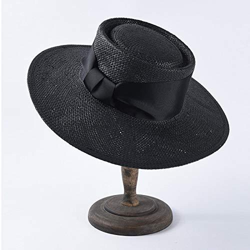 GONGFF Unisex Wide Brim Sommer Hüte für Frauen Männer In Weiß Rot Schwarz Ribbon Hut Stroh Strand Sonnenhut SchwarzStrand Hüte Wide Brim Floppy Packable Adjustable