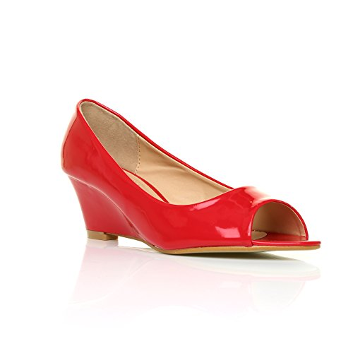 HONEY Scarpe donna in pelle lucida colore rosso rosso lucido similpelle