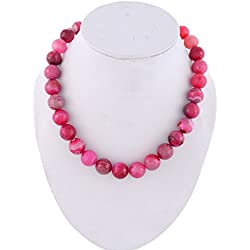 Kastiya Jewels Pink Colored Jade Quartz Semi Precious Gemstone 16mm Big Beads Necklace For Women & Girls