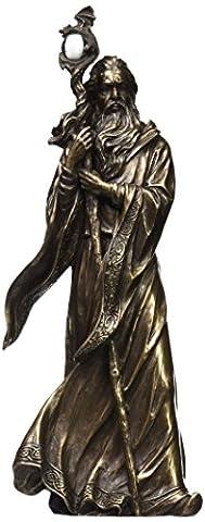 29,8cm froid Fonte Bronze couleur Merlin Figurine Statue Home