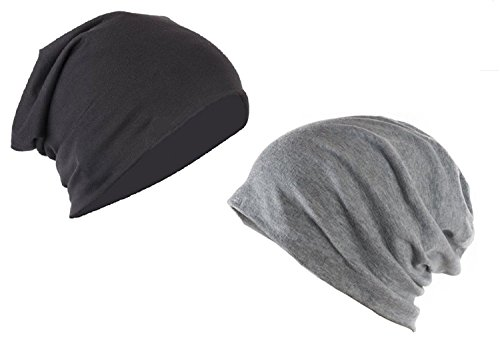 Zacharias Boy\'s Slouchy Beanie Combo of Black and Grey
