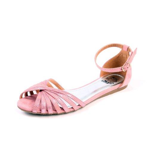 alexis-leroy-shoes-cute-cross-straps-ajustable-buckle-flat-sandals-pink-para-mujer-de-color-rosa-tal