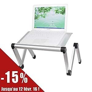 SoBuy FBT24-Sil Table de Lit Ergonomique- TableStand - Support pliable pour ordinateur portable et iPad Pliable Inclinable -Argent