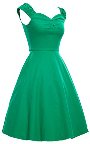 Eyekepper Robe Femme des annees 1950 Retro Capshoulder Party Robe trapeze Vert