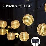 GIGALUMI Solar Lichterkette Lampions 2 Pack 20 LEDs Laterne außen Lichterkette 6m Warmweiß Wasserdicht Weihnachten Dekoration für Garten, Terrasse, Hochzeit, Balkon,Hof usw.