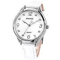 Comtex-Reloj de mujer de cuarzo,correa de piel color blanco