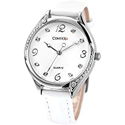 Comtex Women's Wrist Watch White Leather Quartz Analogue Display Water Resistant