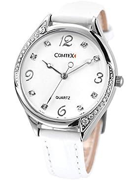 Comtex Damen -Armbanduhr Analog Quarzuhr mit weiß Zifferblatt Analoge und Weiß Leder Armband wasserdicht