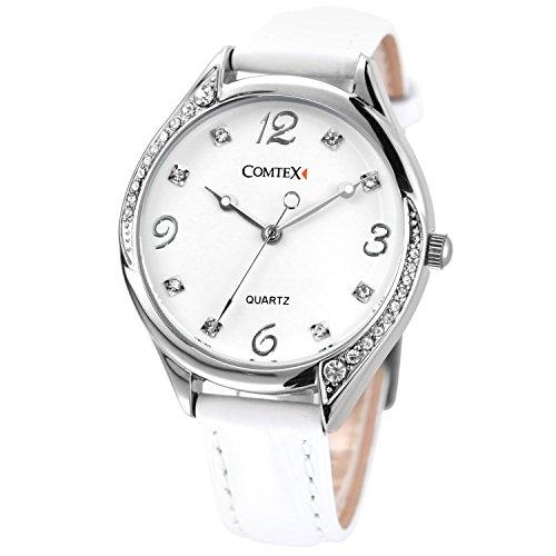 Comtex Damen -Armbanduhr Analog Quarzuhr mit weiß Zifferblatt Analoge und Weiß Leder Armband wasserdicht (Voll-leder Weißes)