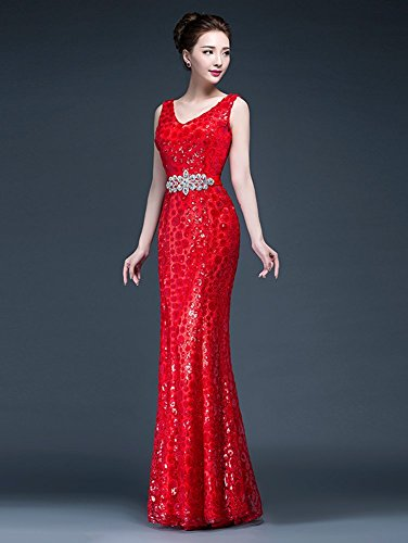 Drasawee - Robe - Moulante - Femme rouge Red Bleu Marine