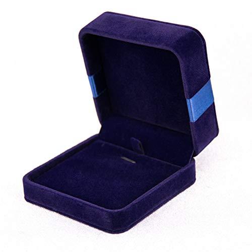 Premium Langhaar-SAMT Schmuck Set Display Box/Halskette Geschenkbox -Mit Schleife aus Band/Marineblau