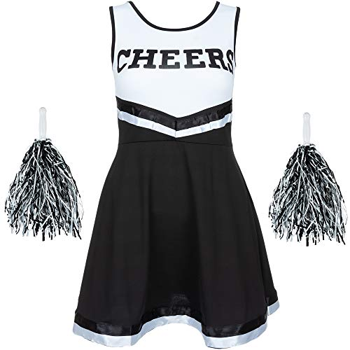 - Damen Cheerleader-Kostüm - Uniform mit Pompons - Halloween, American High School - 6 Größen 34-44 - Schwarz - L ()