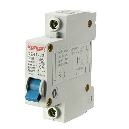 Din Mount Circuit Breaker (ZCHXD 1 Pole 16A 230/400V Low-voltage Miniature Circuit Breaker Din Rail Mount DZ47-63 C16)