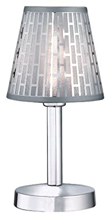 Trio-Leuchten 592110101 Touch me Lampe de table Ampoule incluse 1x G9/28 W Eco 4 intensités Chrome/abat-jour PVC revêtement chromé