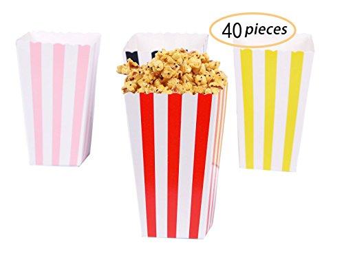 Yolito 40pcs Popcorn Tüten Gestreift Popcorn Box 7 × 5 × 11.5 (Rot /Rosa /Gelb /Schwarz)
