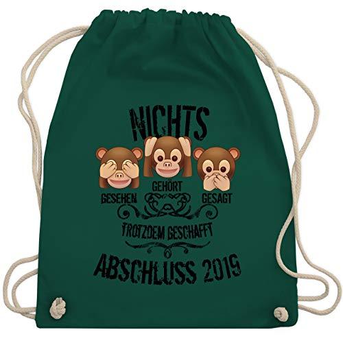 Abi & Abschluss - 3 Affen Emojis ABSCHLUSS 2019 - Unisize - Dunkelgrün - WM110 - Turnbeutel & Gym Bag