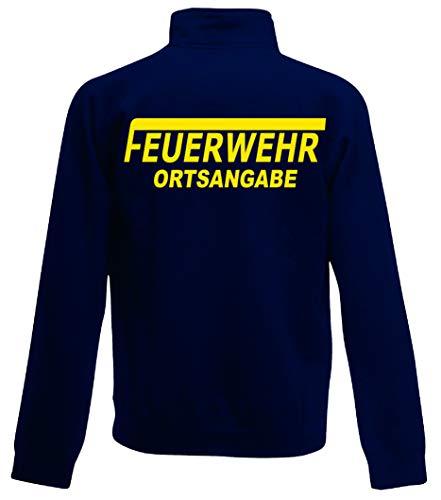 Feuerwehr Sweat-Jacke, Navy Blue, Bedruckt mit Neongelb oder reflexsilber (XL, Neongelb) - Navy Blue Jacke