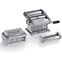 Marcato GS-PASTASET Pastaset, Manual Pasta Machine with Ravioli and Spaghetti Accessories Included, Silver, 20 x 20.7 x 15.5 cm