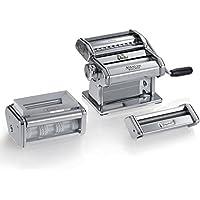 Marcato PastaSet Máquina para Pasta Manual con Accesorios Incluidos para Raviolis Y Espaguetis, Acero Cromado, Plata, 20 x 20.7 x 15.5 cm