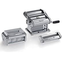 Marcato gs-pastaset máquina para pasta manual con incluidos accesorios para raviolis y espaguetis, acero cromado, plateado