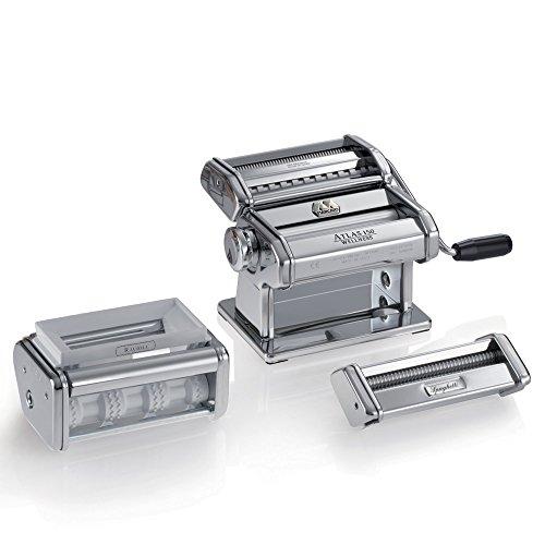 Marcato GS-Pastaset Macchina per Pasta Manuale con Inclusi Accessori per Ravioli e Spaghetti, Acciaio Cromato, Argento
