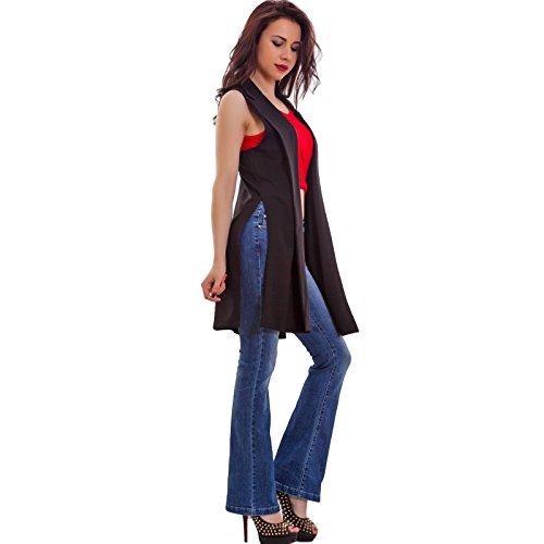 Toocool - Gilet donna lungo smanicato senza chiusura coprispalle elegante nuovo AS-3009 Nero