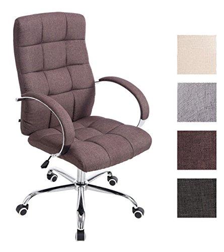 CLP Bürostuhl MIKOS mit Stoffbezug und hochwertiger Polsterung I Höhenverstellbarer Chefsessel mit Armlehne I erhältlich Braun