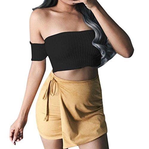 URSING Les femmes enveloppent la poitrine à l'épaule à manches courtes rayé chemisier Tops T-shirt Lace Coton Sling Sexy Envelopper la poitrine Bra Loisirs Halo Sous-vêtement Wrap Noir