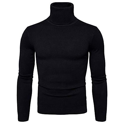Xmiral Pullover Men Reine Farbe Rollkragen Langarm Slim Strickhemd Top (L,Schwarz) -