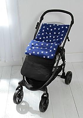 Forro polar saco/Cosy Toes Compatible con Graco Stadium Duo Quattro Evo mosaico azul Star/exterior negro