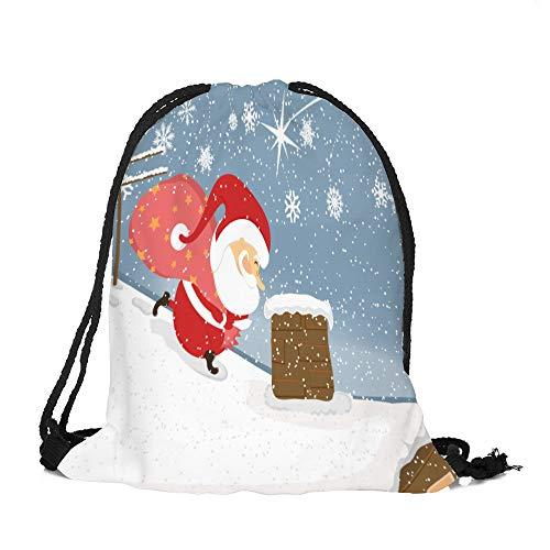 Frohe Weihnachten Weihnachten Drawstring Binkou A, Malloom Frohe Weihnachten Süßigkeiten Tasche Satchel Rucksack Bundle Pocket Drawstring Aufbewahrungstasche