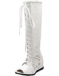 Atyche Damen Peeptoes Cut Out Sommer Overknee Stiefel mit Reißverschluss und Schnürung Stiletto High Heels Sandalen Mode Schuhe