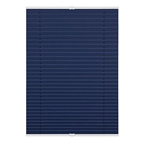 Lichtblick PVV.090.130.09 Plissee Klemmfix, Thermo, ohne Bohren, verspannt, Verdunkelung - Blau 90 cm x 130 cm (B x