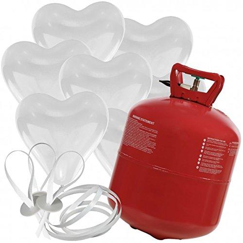 50 Herz Luftballons freie Farbwahl mit Helium Ballon Gas Hochzeit Valentinstag Komplettset (Weiß)