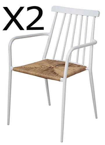 PEGANE Lot de 2 chaises en Aluminium Coloris Blanc - Dim : 84 x 53x 57 cm