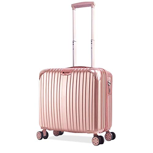 HUANGA HUANGDA Mini Boarding Light Bag piccola borsa da viaggio Female Travel Box 20 pollici Trolley maschio 18 pollici - Scalabile (Color : Rose gold, Dimensione : 18 inches)