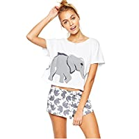 Sets Elephant Pajamas Women Summer Home Wear Cute T Shirt Tops Shorts PJS Sleepwear Juniors Teen Girls