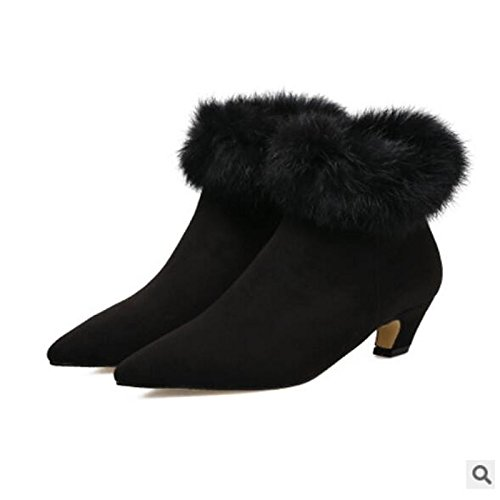 HSXZ Scarpe donna pu inverno Comfort stivali Stiletto Heel punta punta chiusa Babbucce/stivaletti di abbigliamento casual nero Black