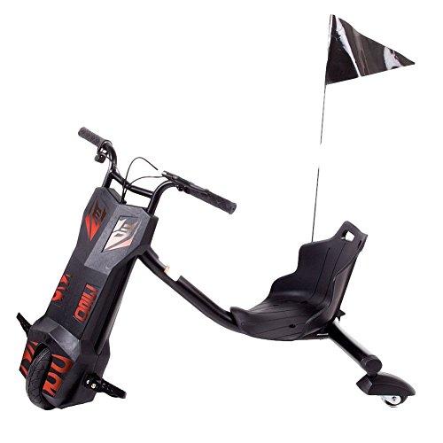 FunTomia® Drift Trike inkl. Akku 12V 4,5AH und LED Licht Elektro Dreirad 360 Grad Drehungen (Schwarz)