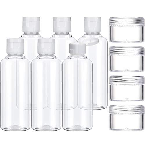Reise Flaschen Set, 6 Packung Transparente Kunststoff Flug Reise Flaschen und 4 Packung 10 ml Kosmetik Behälter für Shampoo, Conditioner und Lotion (100 ml)