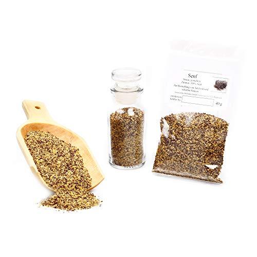 Senf braun, Senf Samen, Senfsaat gemahlen, braune Senfkörner dunkel, Senfpulver, Mustard Powder, glutenfrei, 40g -