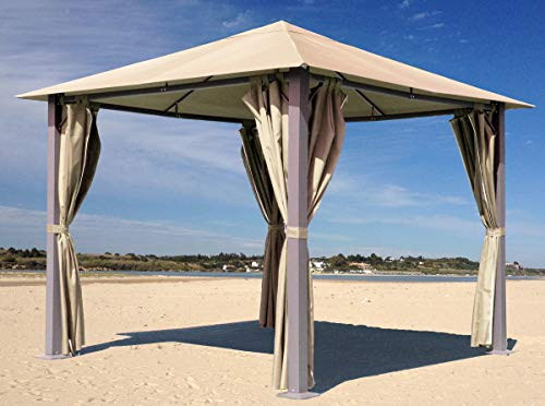 Quick-Star Metall Garten Pavillon Paris 3x3m Antik Sand Partyzelt