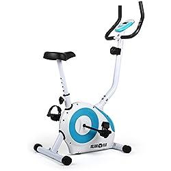 Klarfit MOBI-FX-250 • bicicleta fija • bicicleta estática • bicicleta de cardio • computadora de entrenamiento • medidor de pulso de mano integrado • máx. 100 kg de peso corporal • blanco-azul