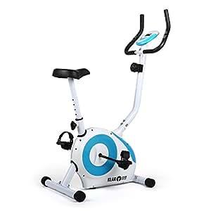 Klarfit Mobi FX 250 Heimtrainer Fitnessbike Ergometer (Trainingscomputer mit LCD-Display, 8-stufig verstellbarer Widerstand, 7-stufig verstellbare Sattelhöhe, ergonomischer Sattel, belastbar bis 100 kg) weiss-blau