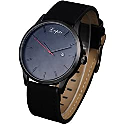 hunpta® Luxury Women's Men's Watches Analog Quartz Leather Sport Wrist Dress Date Watch (Black)