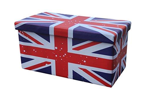 Pouf rettangolare bandiera inglese contenitore scatola sgabello