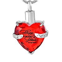 Heart Cremation Urn Necklace for Ashes Urn Jewelry Memorial Pendant with Fill Kit - Always on My Mind Forever in My Heart Cremation Jewelry for Ashes
