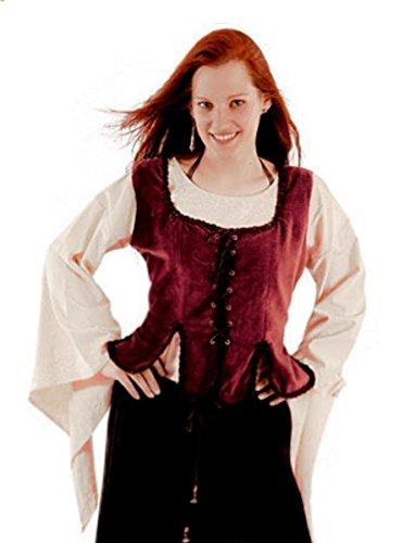 Dark Dreams Gothic Mittelalter LARP Samt-Mieder Jezebell, Farbe:rot, - Mieder Samt Kostüm