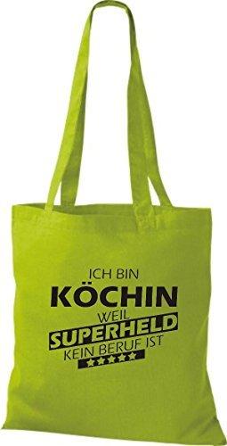 Shirtstown Stoffbeutel Ich bin Köchin, weil Superheld kein Beruf ist kiwi