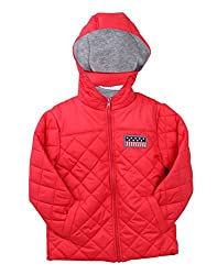 Beebay Boys 100% Polyester Woven Zip up Puffer Hooded Jacket (Red,6-12 Months)